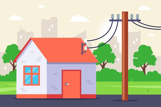 Electricity supply to a private house
