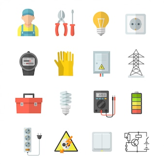 Electricity vector icons set in flat style