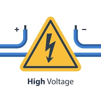 Electricity wires and high voltage sign, repair and maintenance services, illustration