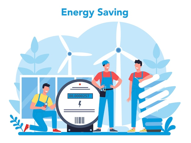 Electricity works service concept. professional worker in the uniform repair electrical element. technician repair and energy saving. isolated vector illustration in cartoon style