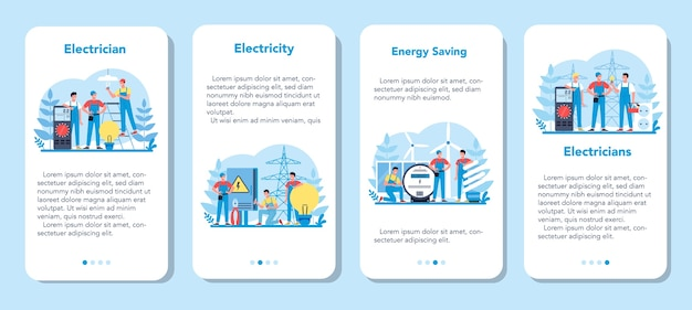 Electricity works service mobile application banner set. professional worker in the uniform repair electrical element. technician repair and energy saving.