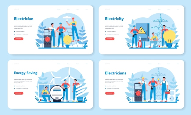 電気工事サービスのwebバナーまたはランディングページセット。制服修理電気要素の専門家。技術者の修理と省エネ。