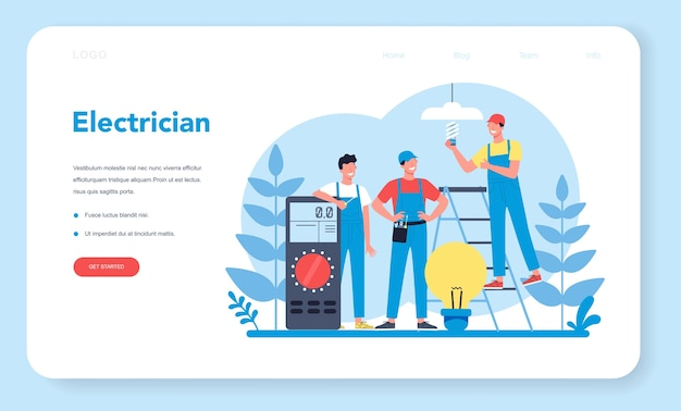 Electricity works service web  landing page. professional worker in the uniform repair electrical element. technician repair and energy saving. isolated vector illustration