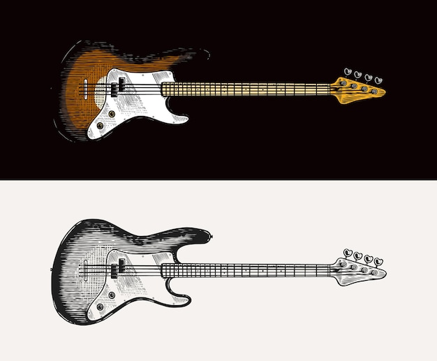Electro bass guitar in monochrome engraved vintage style hand drawn sketch for rock festival or