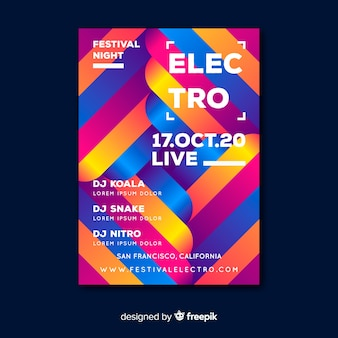 Electro colorful geometric music poster template