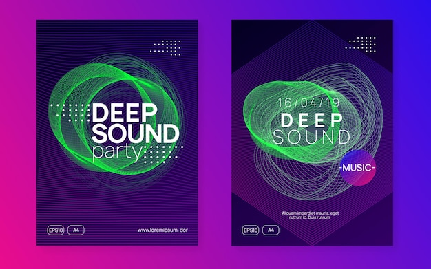 Electro event. cool concert invitation set. dynamic gradient shape and line. electro event neon flyer. trance dance music. electronic sound. club fest poster. techno dj party.