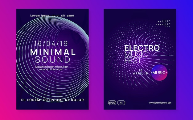 Electro event. dynamic gradient shape and line. energy show brochure set. electro event neon flyer. trance dance music. electronic sound. club fest poster. techno dj party.
