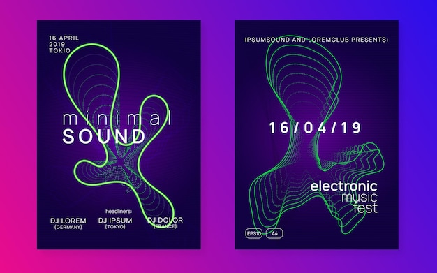 Electro event flyer with ynamic fluid shape and line.
