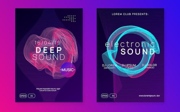 エレクトロイベント。モダンコンサートポスターセット。動的なグラデーションの形状と線。エレクトロイベントネオンフライヤー。トランスダンスミュージック。電子音