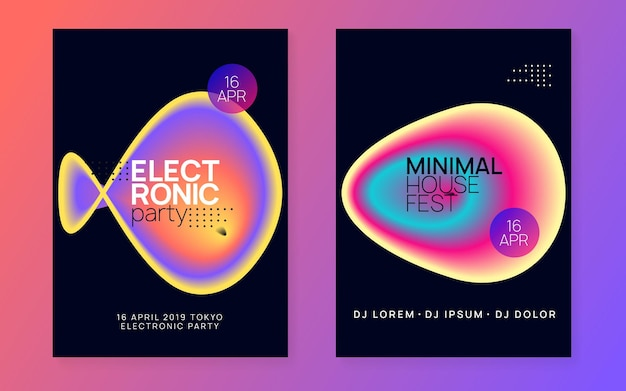 Electro fest. electronic and nightlife template. trendy glitch for presentation. creative background for cover layout. linear house poster. black and orange electro fest