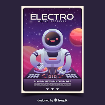 Electro music festival poster with gradient illustration