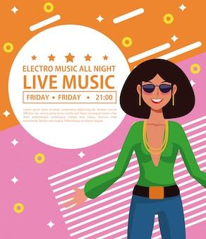 Electro music festivas poster disco woman cartoon
