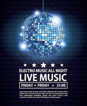 Electro music festivas poster with disco ball