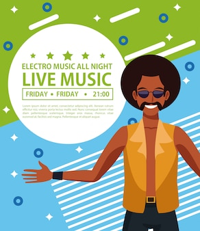 Electro music festivas poster with disco man cartoon