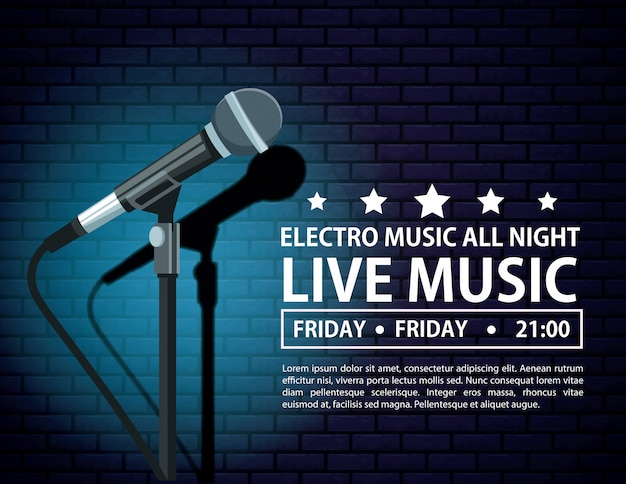 Electro music festivas poster with microphone