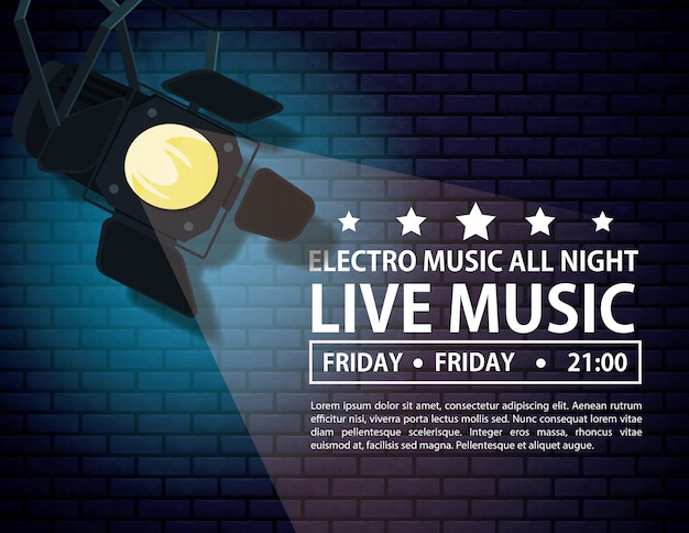 Electro music festivas poster with stage lights