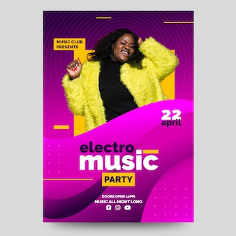 Electro music party poster with photo