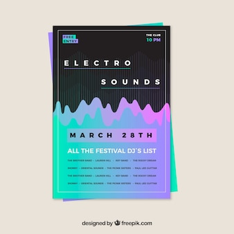 Electro music party poster