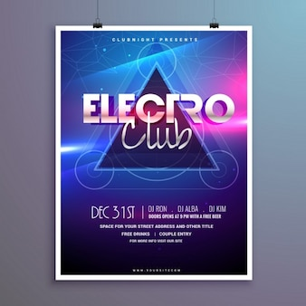 Electro music poster with bright lights effect