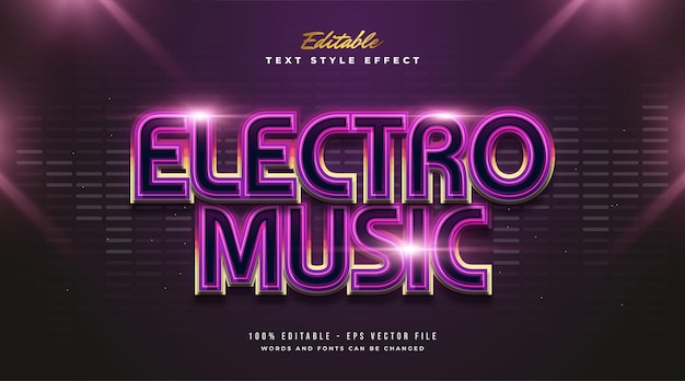 Electro music text in colorful gradient with glowing effect and futuristic style