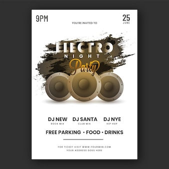 Electro night party flyer design with woofers, black brush effect on white background.