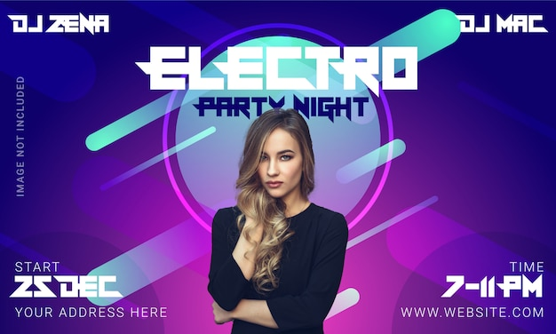 Electro party banner or post