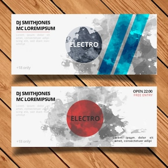 Electro party banners set