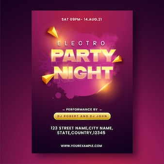 3d 황금 삼각형 및 이벤트 세부 정보가 있는 전기 파티 밤 초대 카드.