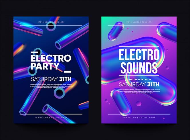 「エレクトロ・サウンド」クラブ招待チラシ。ホログラフィック形状のダンスパーティーのデザイン。