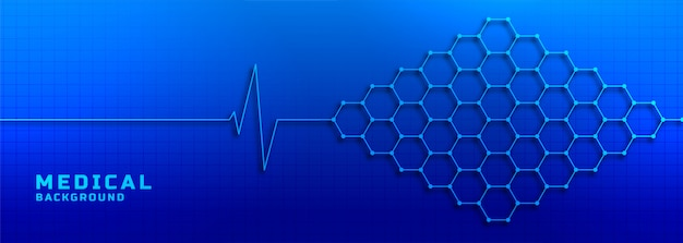 Electrocardiogram with molecular structure medical and healthcare background