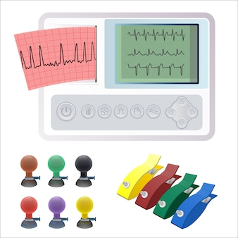 Electrocardiography ecg or ekg machine recording electrical activity of heart using electrodes placed on skin.