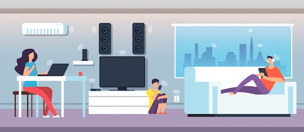 Electromagnetic field in home. people under emf waves from appliances and devices.