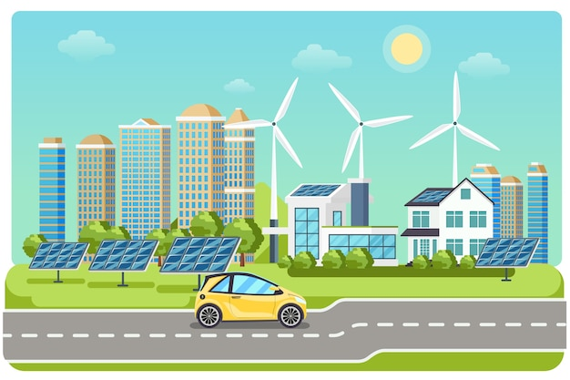 Electromobile on highway. electric car, electro car,  windmill city, solar electromobile, driving on highway. vector illustration