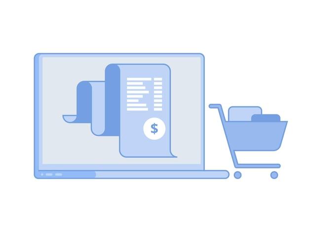 電子請求書、課金システムのオンライン支払い、財務レポートのコンセプト、ノート パソコンのフラット アイコン