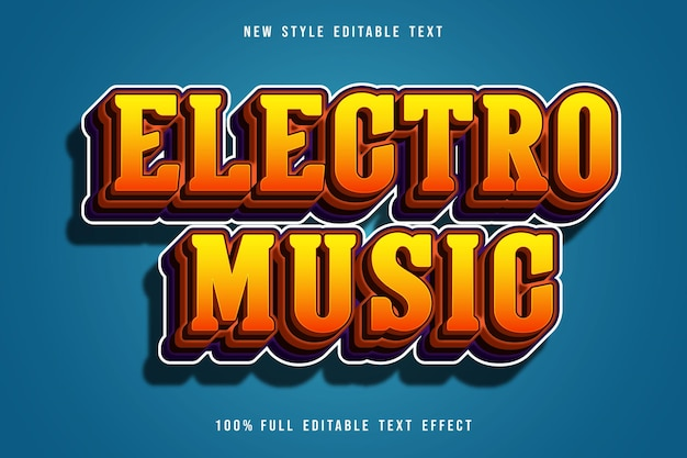 Electron music editable text effect color orange and brown gradation