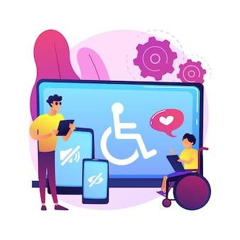 電子アクセシビリティの抽象的な概念の図。ウェブサイトへのアクセシビリティ、障害者のための電子機器、通信技術、調整可能なウェブページ。
