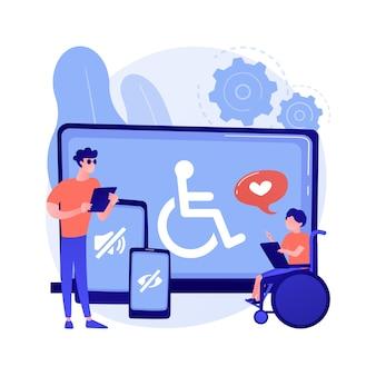電子アクセシビリティ抽象的な概念ベクトル図。ウェブサイトへのアクセシビリティ、障害者のための電子機器、通信技術、調整可能なウェブページの抽象的な比喩。