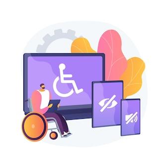 전자 접근성 추상 개념 벡터 일러스트입니다. 웹 사이트에 대한 접근성, 장애인을위한 전자 장치, 통신 기술, 조정 가능한 웹 페이지 추상 은유.