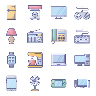 Electronic appliances flat icons pack