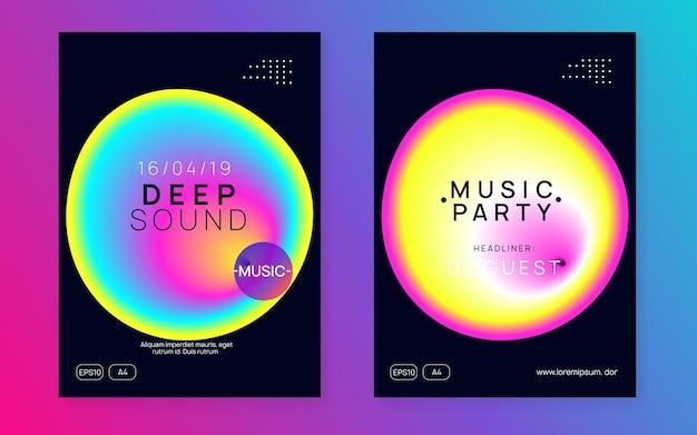 전자 배너. 멋진 댄스 파티. 잡지 모양에 대한 동적 배경입니다. 네온 및 쇼 개념입니다. 브로셔에 대한 밝은 예술. 검정과 분홍색 전자 배너