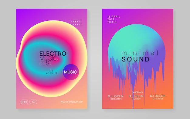 전자 배너. 전기 및 유흥 개념입니다. 재즈 아트 세트. 잡지 모양의 그래픽 패턴입니다. 선형 음악 포스터. 무지개 전자 배너