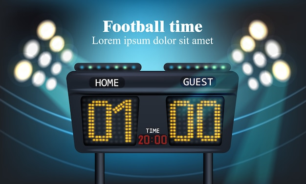 Electronic board for football game score