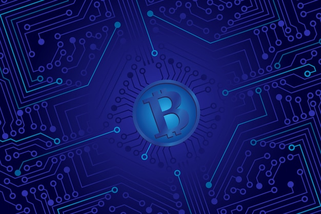 The electronic board from the computer in blue color with a bitcoin in the center.