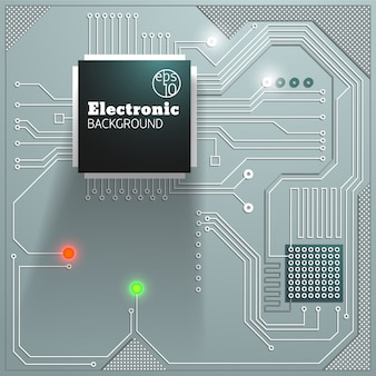 Electronic board with lights background