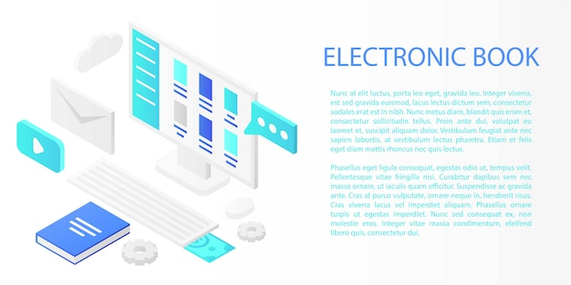 Electronic book concept banner, isometric style