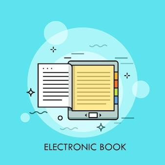電子書籍。読書用の最新の電子機器またはモバイルガジェット、モノクロディスプレイ付きの電子書籍、電子書籍リーダー、またはタブレットpcの概念