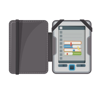 Electronic book device makes available publications in digital form, e-book with text and images