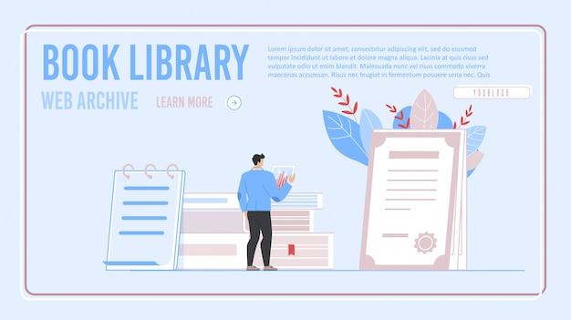 Electronic book library and archive landing page