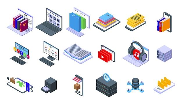 電子カタログアイコンを設定します。白い背景で隔離のwebデザインの電子カタログアイコンの等尺性のセット