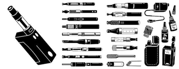 Electronic cigarette icons set